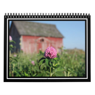 Poca flor rosada en un campo calendarios