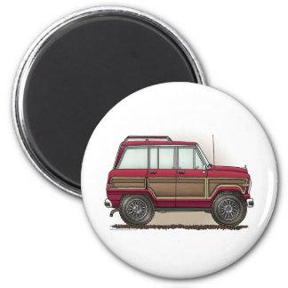 Poca furgoneta de cuatro ruedas imán redondo 5 cm