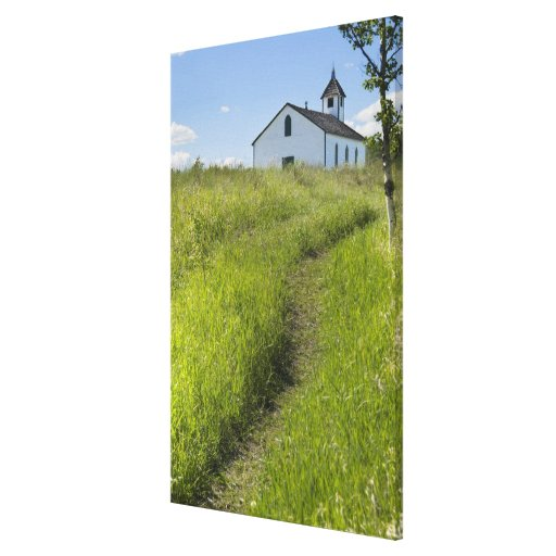 Poca iglesia en las praderas canadienses impresiones en lienzo estiradas