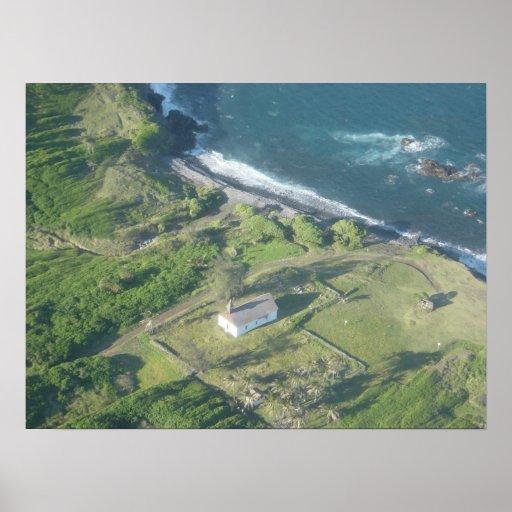 Poca iglesia por el mar en Hawaii #2 Poster