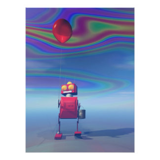 Poca impresión roja del robot 2 del cumpleaños poster