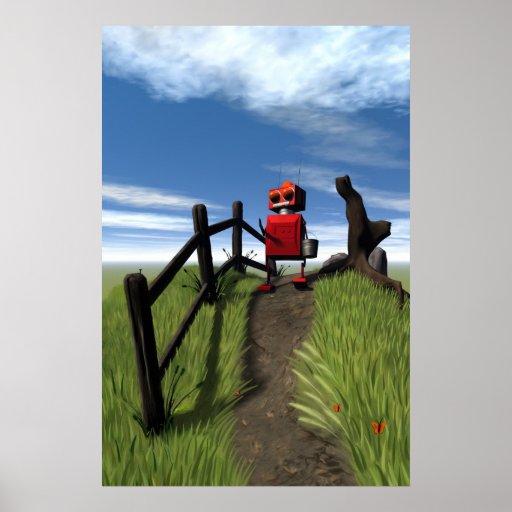 Poca impresión roja del robot póster