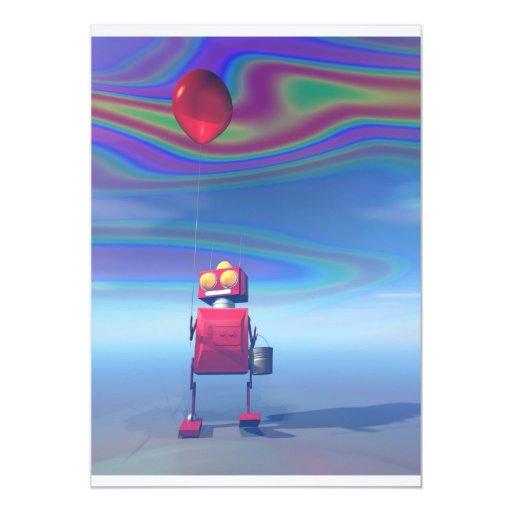 Poca invitación roja del robot 2 del cumpleaños invitación 12,7 x 17,8 cm