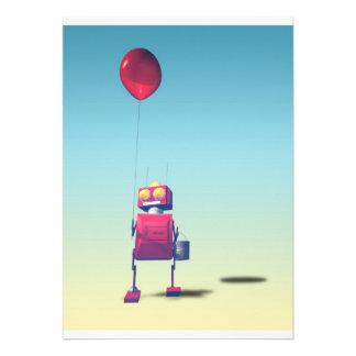 Poca invitación roja del robot 3 del cumpleaños