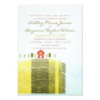 Poca invitación rústica del boda de las tierras de