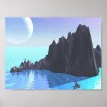 Poca isla en el mar azul claro posters