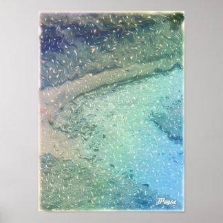 Poca nieve del azul de la foto del extracto del ar póster