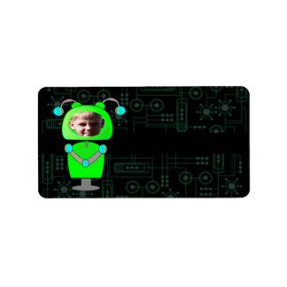 Poca plantilla verde de la cara de la foto del rob etiquetas de dirección