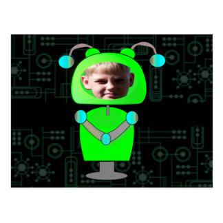 Poca plantilla verde de la cara de la foto del rob postales