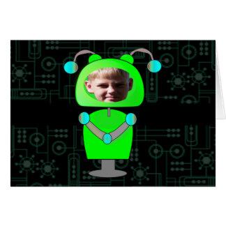 Poca plantilla verde de la cara de la foto del tarjeta pequeña