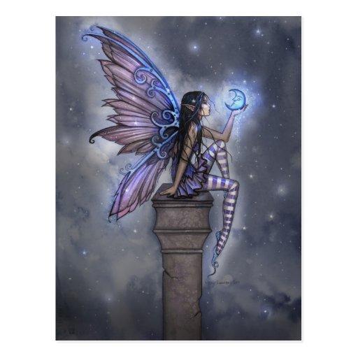 Poca postal de hadas de la fantasía de la luna azu