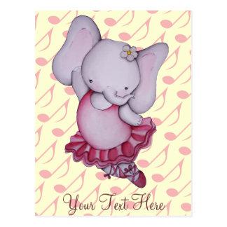 Poca postal del elefante de la bailarina del baile