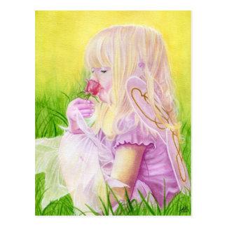 Poca postal del rosa de hadas de la primavera