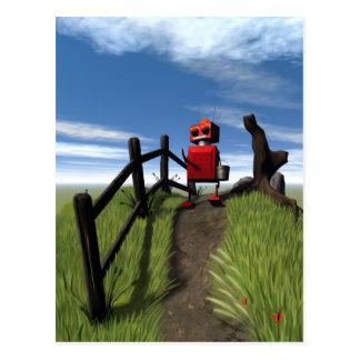 Poca postal roja del robot