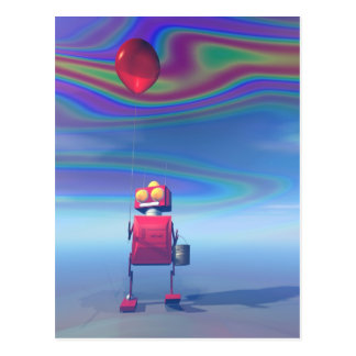 Poca postal roja del robot 2 del cumpleaños