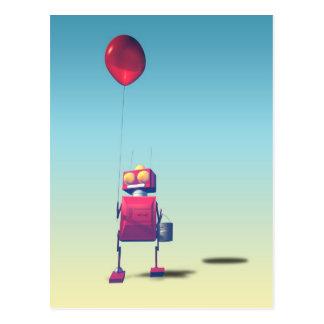 Poca postal roja del robot 3 del cumpleaños