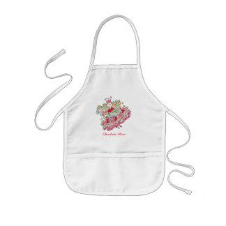 Poca princesa rosada Apron de la flor Delantal Infantil