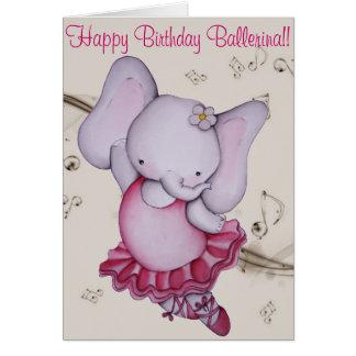 Poca tarjeta de cumpleaños del elefante de la bail