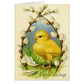 Poca tarjeta de felicitación del polluelo de Pascu