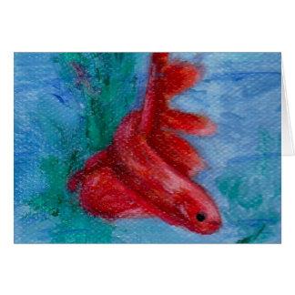 Poca tarjeta en blanco de los pescados rojos de