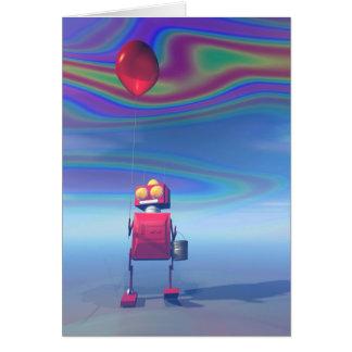 Poca tarjeta roja del robot 2 del cumpleaños