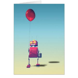 Poca tarjeta roja del robot 3 del cumpleaños