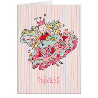 Poca tarjeta rosada de la princesa cumpleaños de l