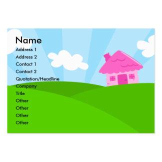 Poca tarjeta rosada del perfil de la casa plantilla de tarjeta de negocio