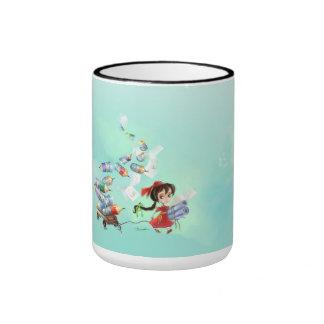 poca taza linda del chica del dibujo animado