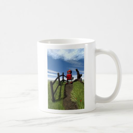 Poca taza roja del robot
