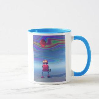 Poca taza roja del robot 2 del cumpleaños