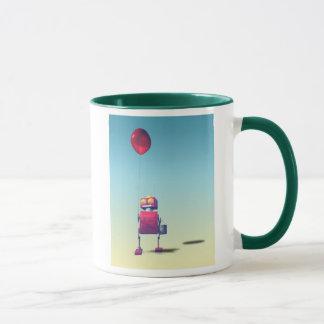 Poca taza roja del robot 3 del cumpleaños