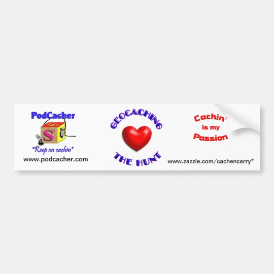 Pocacher, cachin' is my passion, love geocaching bumper sticker
