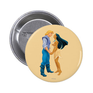 Pocahontas and John Smith Holding Hands Pinback Button