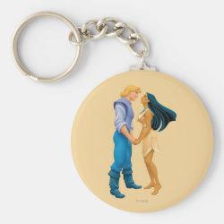 Basic Button Keychain with Pocahontas & John Smith Forever design