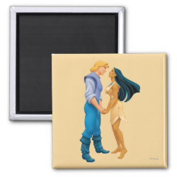 Square Magnet with Pocahontas & John Smith Forever design