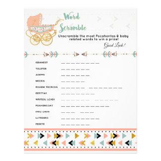 Pocahontas/Boho Baby Shower Word Scramble Game Flyer