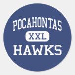 Pocahontas Hawks Richmond media Virginia Etiquetas Redondas