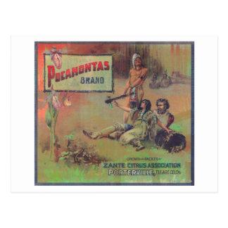 Pocahontas LabelPorterville anaranjado, CA Postales