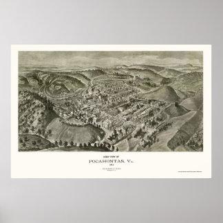 Pocahontas, mapa panorámico del VA - 1911 Impresiones