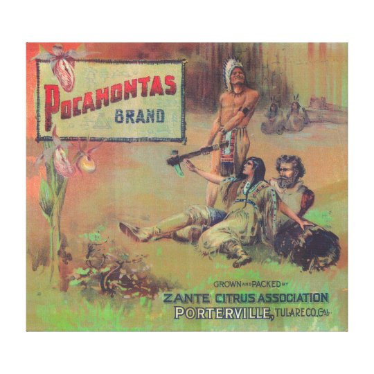 Pocahontas Orange LabelPorterville, CA Canvas Print