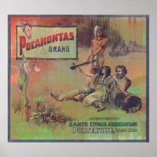 Pocahontas Orange LabelPorterville, CA Poster