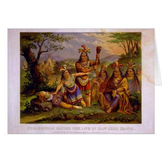 Pocahontas que ahorra la vida de capitán John Smit Tarjeta De Felicitación