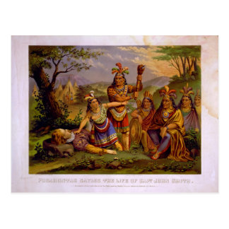 Pocahontas que ahorra la vida de capitán John Tarjetas Postales