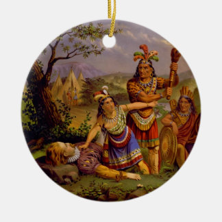 Pocahontas Saving the Life of Captain John Smith Double-Sided Ceramic Round Christmas Ornament