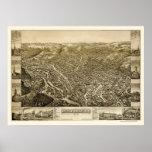 Pocas caídas, mapa panorámico de NY - 1881 Posters
