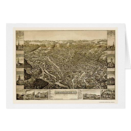 Pocas caídas, mapa panorámico de NY - 1881 Felicitacion