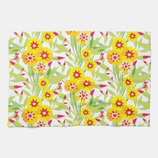Pocas floraciones del girasol del amarillo toallas de cocina