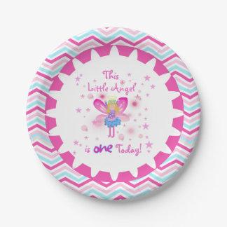 Pocas placas de papel del 1r cumpleaños del ángel plato de papel de 7 pulgadas