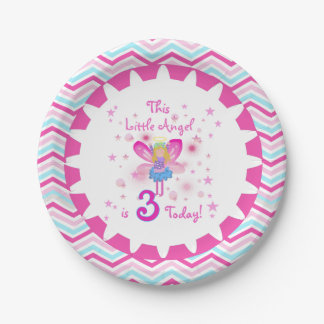 Pocas placas de papel del 3ro cumpleaños del ángel plato de papel de 7 pulgadas